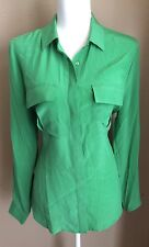 Joe Fresh womens Green 100% Silk Long Sleeves Shirt Blouse  Size L New With Tags