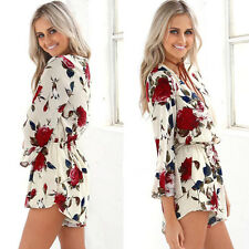 Sexy Women Summer Deep V-neck Print Jumpsuit Long Sleeve Playsuit Party Rompers