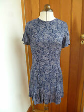 ATMOSPHERE PRIMARK NAVY BLUE GREY PAISLEY PRINT FLOATY TUNIC DRESS 6 8 10 BNWT