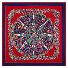 """Women's New Arrival Printed Compass Silk Square Scarf with  Pattern 51""""*51"""""""