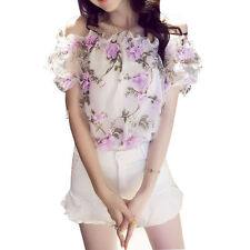 Summer Women Off Shoulder Top with Lace Trim Japanese/Korean Fashion Shirt Tees