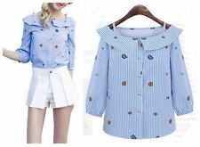 Europe Fashion Womens Blouse With Cold Shoulder & Sling Striped Printing Shirt