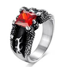 Vintage Dragon Claws Stainless Mens Rings Red Gem Jewelry Gothic Punk Ring Band