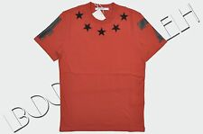 GIVENCHY 555$ Authentic New Red Cotton Cuban Fit Stars Embroidery Tshirt
