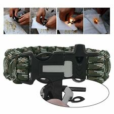 Paracord Survival Flint Whistle Camping Rescue Umbrella Rope Bracelet Hot BG