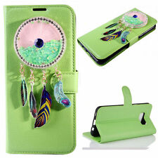 (Green)3D Wind chimes Bling Quicksand Flip Wallet Case For Samsung Galaxy Model