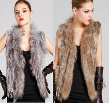 Real Farm Knitted Rabbit Fur Waistcoat/Vest/Gilet Fashion Design Collar Tassel