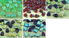 16pcs Flat Leaf Carved Czech Glass Beads 12mm x 7mm