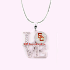 NCAA USC Trojans 925 Sterling Silver Team Love Necklace With Rhinestones