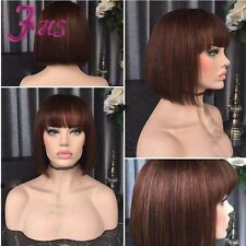 Color 2# Short Bob Full Lace Wig Straight Human Hair Lace Front Wig With Bangs