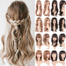 Women Long Curly Wavy Full Wigs Natural Straight Bangs Daily Costume Fashion Wig
