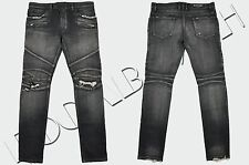 BALMAIN 1485$ Authentic New Skinny Black 16cm Knee Rip Japanese Biker Jeans