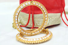 Indian Gold Plated CZ Stone Bangle Bracelet Set Ethnic Bollywood Bridal Jewelry