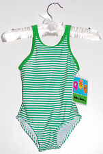 NWT Baby Buns Infant Girls Green with white micro-striped One-Piece Swimsuit 18M