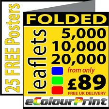 Folded leaflets / flyers / Menus A3, A4 or A5 on 150gms. Printing in Full Colour