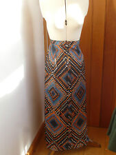 ATMOSPHERE PRIMARK COLOURFUL ABSTRACT PEACOCK FEATHER PRINT MAXI SKIRT 6 8 10