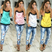 Sexy Women Camisole Summer Lace Patchwork Vest Sleeveless Tank Tops T-Shirt