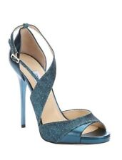 NIB 9.5 US NWT Jimmy Choo Tyne Sandal leather Metallic Stilettos Ocean $850 Rtl