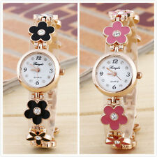 Womens Girls Ladies Chic Fashion Daisies Flower Rose Golden Bracelet Wrist Watch