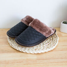 Mens Genuine Cow Leather Soft Brown Cozy Warm Lining Bedroom Mule House Slippers