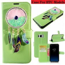 Green Bling wind chimes Litchi Leather Wallet Flip Case Cover For HTC Models