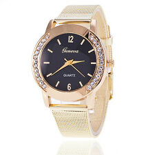 Womens Crystal Gold Stainless Steel Mesh Band Quartz Bracelet Wrist Watch Luxury