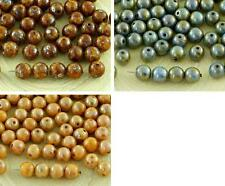40pcs Picasso Round Czech Glass Beads 6mm