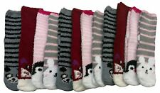 excell Womens Fuzzy Socks Crew Socks, Warm Butter Soft, 12 Pair Pack