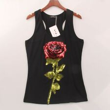 Women Summer Style Rose Sequins Sequined Vest Sexy Racer Back Tank Tops