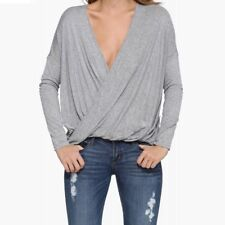 Women T Shirt Deep V Neck Pullover Top Tees Casual Pleated Wrap Long Sleeve