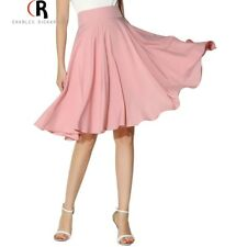 Women Midi Skirt Clothing High Waist Pleated A Line Skater Vintage Casual Knee