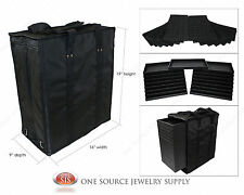 Large Jewelry Carrying Case Salesman Black Travel Case & Jewelry Trays & Liners
