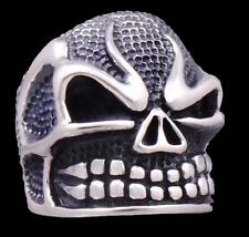 20.5g HUGE HEAVY BIKER FIRE FLAME SKULL ROCK 925 STERLING SOLID SILVER MENS RING