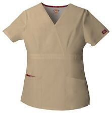 Dickies Scrubs 86806 Khaki V Neck Scrub Top Dickies EDS Signature KHIZ