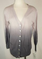 Kikit Womens Gray Dip Dyed Long Sleeve Lightweight Cardigan VNeck Sweater Small