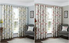 Cotton Lined Floral Leaf Trails and Birds Eyelet Curtains or Cushion Covers