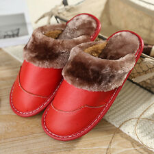 Warm Home Cow Leather Slippers for Women Faux Fur Lining Plush House Flats Shoes