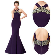 Appliques Mermaid Long Evening Pageant Party Ball Prom Gown Wedding Halter Dress