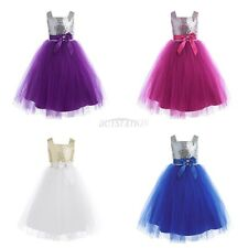 Toddler Girls Kids Sequins Tulle Flower girl Dress Wedding Party Formal Pageant