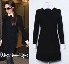 victoria beckham black and white shirt dress business office casual party dress