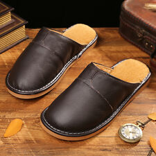 Casual Mens Indoor Cow Leather Slippers Close Toe Lining Fur House Slip On Flats