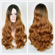 Women Blonde Ombre Hair Full Wig Fashion Style Black Root Long Curly Wigs