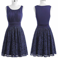 Women's Vintage 1950s Cocktail Party Dress Casual Pleated Lace Lady A-line Dress
