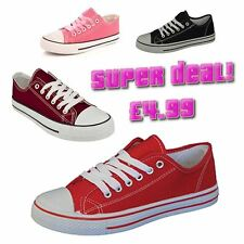 New Womens Flat Shoes Girls Canvas Pumps Ladies Lace Casual Trainers Plimsolls