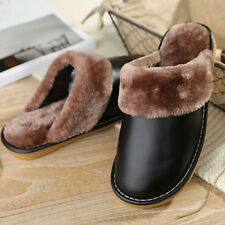 Mens Indoor Shoes PU Leather Fluffy Plush Lining Slip On Comfy House Slippers