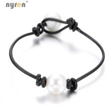 Multi Styles Pearl Leather rope Bracelet Genuine Leather Cord Pearl Jewelry