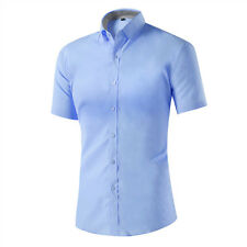Mens Slim Fit Button Down Dress Shirt Short Sleeve Casual Shirts Formal Shirts