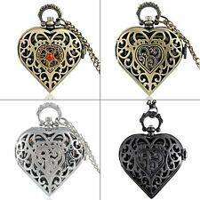 Vintage Heart Modern Pocket Watch Quartz Pendant Necklace Chain Steampunk Gift