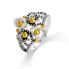 Designer Inspired Cable Filigree Design Two Tone Ring - Clearance