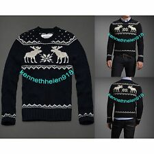 NWT ABERCROMBIE & FITCH MENS GOTHICS MOUNTAIN SWEATER NAVY SIZE MEDIUM A&F